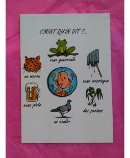 Carte postale C'mint qu'il dit (avec chat)