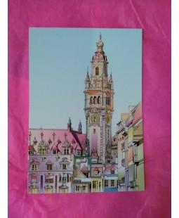Carte postale Beffroi de Lille (dessin rosé)